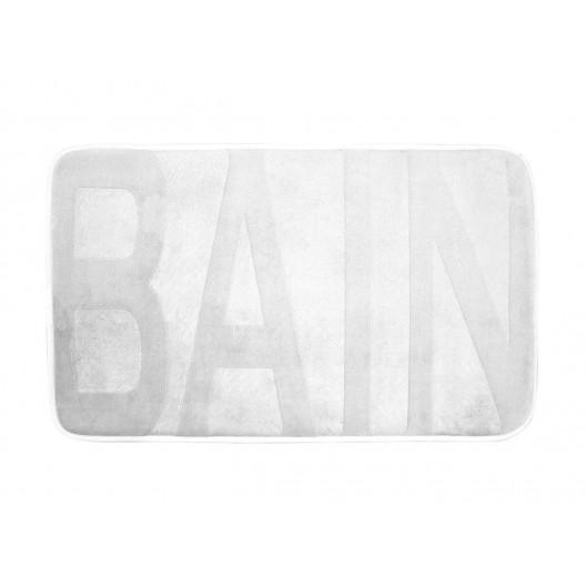 Biely kúpeľňový koberec s nápisom BAIN 45 x 75 cm