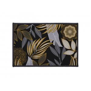 čierny malý koberec do predsiene s listami 40 x 60 cm