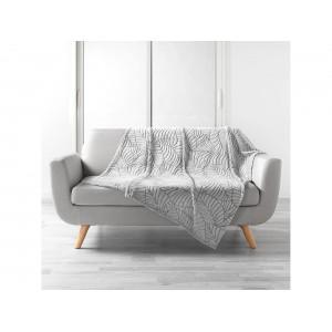 Krásna svetlo sivá deka s motívom listov 125 x 150 cm