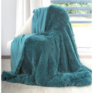 Krásna chlpatá moderná tyrkysová deka