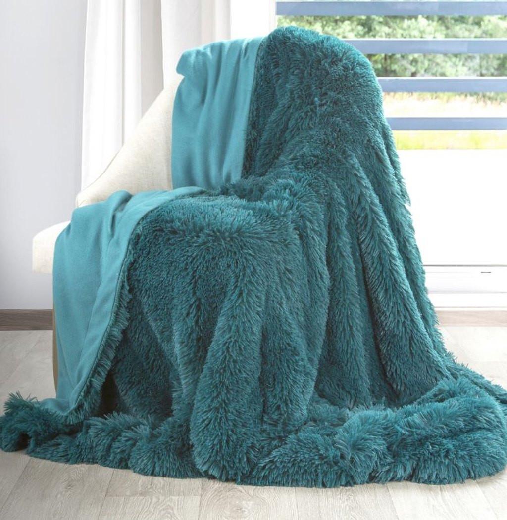 DomTextilu Krásna chlpatá moderná tyrkysová deka 70 x 160 cm