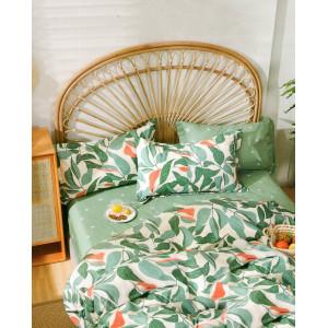 štýlové bavlnené zelené posteľné obliečky s motívom listov