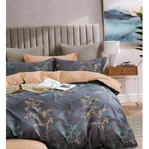 Obojstranné béžovo sivé bavlnené posteľné obliečky s motívom rastlín