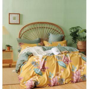 Žlté bavlnené obojstranné posteľné obliečky