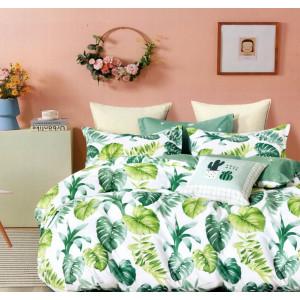Kvalitné bielo zelené bavlnené posteľné obliečky s motívom listov