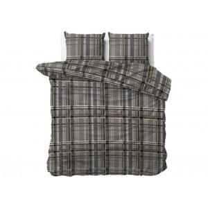 Originálne hnedo sivé posteľné obliečky s geometrickým motívom štvorcov 200 x 220 cm