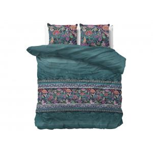 Luxusné smaragdovo zelené posteľné obliečky s motívom kvetov 220 x 240 cm
