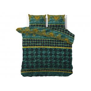 Smaragdovo zelené bavlnené posteľné obliečky s ornmentami 220 x 240 cm