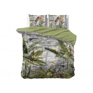 Obojstranné bavlnené zelené posteľné obliečky z kolekcie JUNGLE  220 x 240 cm