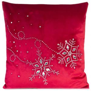 Krásna dekoratívna vianočná obliečka na vankúš červenej farby s kamienkami 45 x 45 cm