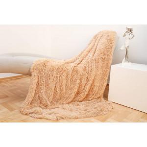 Luxusná svetlo hnedá chlpatá deka