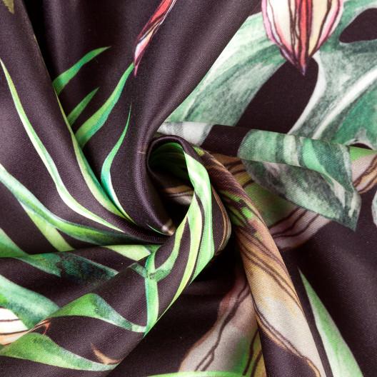 Moderný záves v zelenej farbe s motívom džungle
