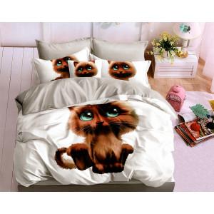 Roztomilé obojstranné biele posteľné obliečky s motívom mačky