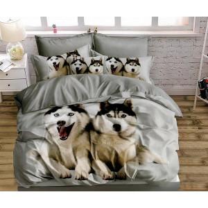 Kvalitné obojstranné sivé posteľné obliečky s motívom HUSKY