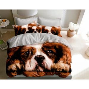 Unikátne hnedé obojstranné posteľné obliečky so psíkom