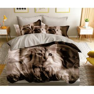 Originálne obojstranné sivo hnedé posteľné obliečky s motívom mačky