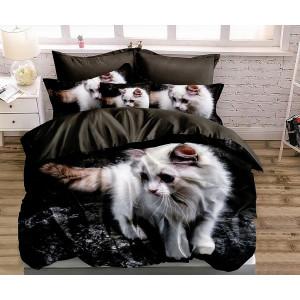 Elegantné čierne posteľné obliečky s motívom bielej mačky