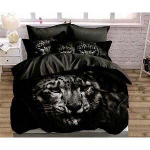luxusné čierne posteľné obliečky s motívom leoparda