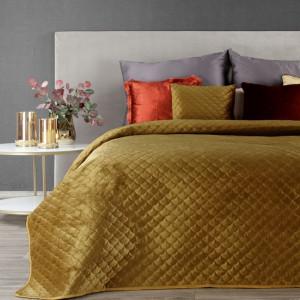 Luxusný jednofarebný žltý prešívaný prehoz