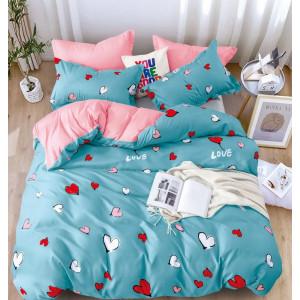Tyrkysové posteľné obliečky s potlačom srdiečok
