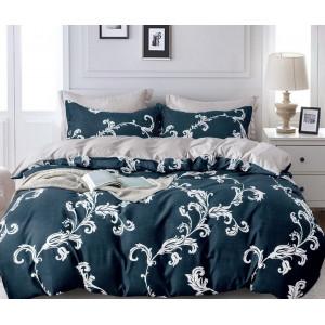 Šedé posteľné obliečky s motívm bielych ornamentov