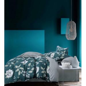 Tyrkysové posteľné obliečky s motívom kvetov