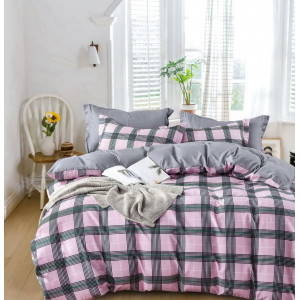 Ružové karované posteľné obliečky