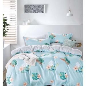 Modré posteľné obliečky s exotickým motívom