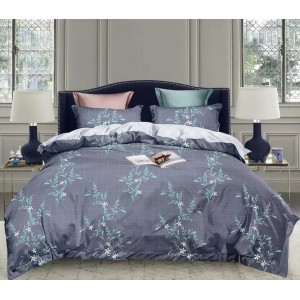 Tmavomodré posteľné obliečky s motím rastlín