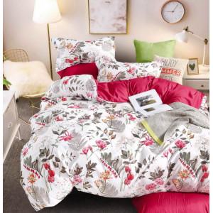 Biele posteľné obliečky s motívom  listov a kvetov