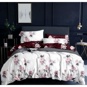 Biele posteľné obliečky s motívom ružových ruží