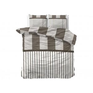 Bielo hnedé posteľné obliečky s pruhmi 140 x 200 cm
