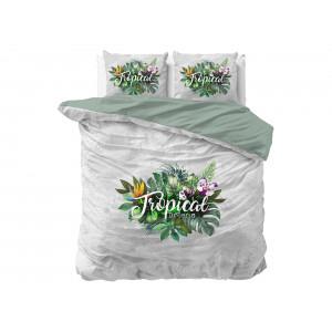 Krásne obojstranné zeleno sivé posteľné obliečky TROPICAl DREAMS 140 x 200 cm