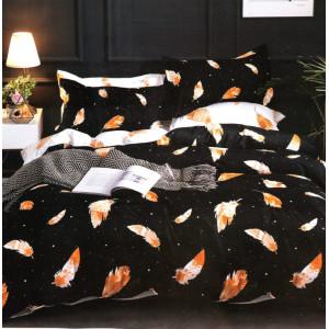 Čierne posteľné obliečky s motívom pierok