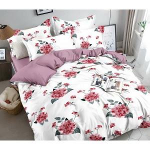 Biele posteľné obliečky s motívom ružových hortenzií