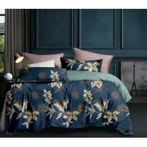 Modré posteľné obliečky s motívom hnedých listov