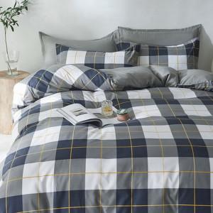 Šedomodré kárované posteľné obliečky