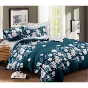 Zelené posteľné obliečky s motívom kvetov