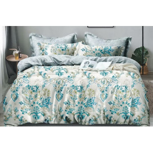 Biele posteľné obliečky s ornmentmi v zelených odtieňoch