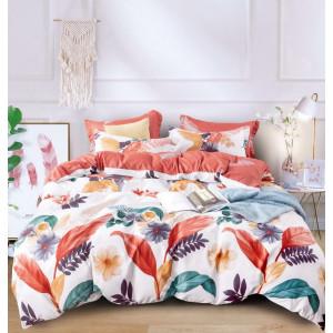 Biele posteľné obliečky s motívom farebnýh rastlín