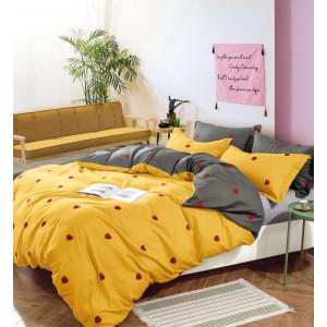 Žlté posteľné obliečky s motívom sŕdc