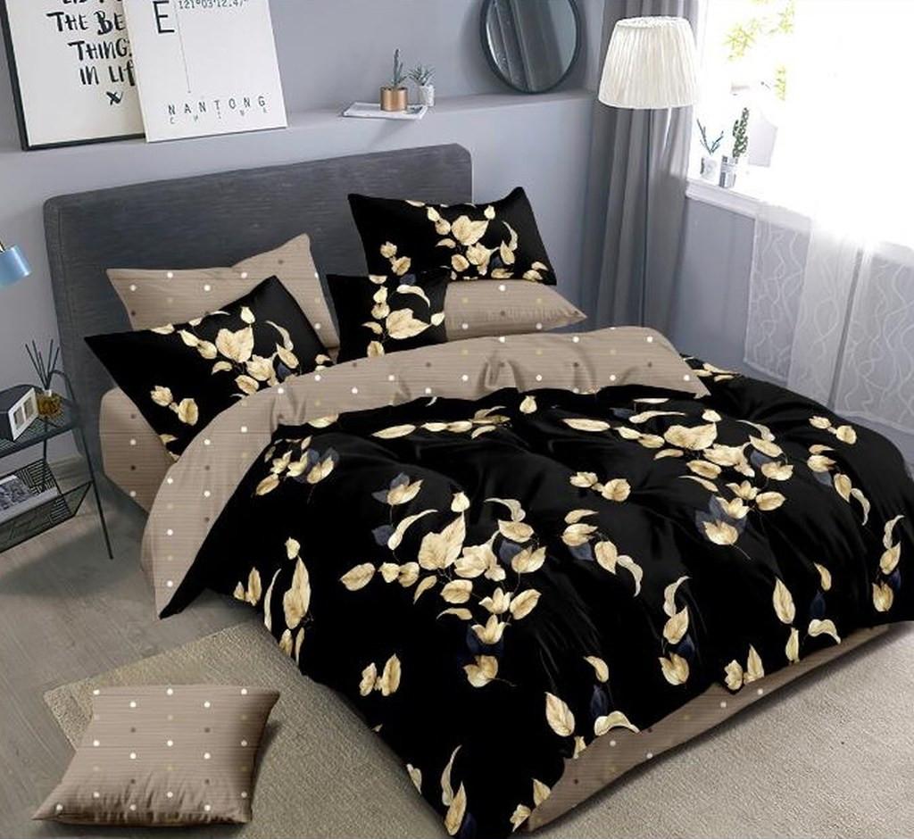 DomTextilu Čierne postľné obliečky s motívom béžových listov 38150-179574