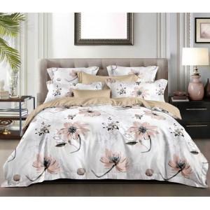 Béžové posteľné obliečky s motívom kvetov