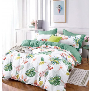 Biele posteľné obliečky s tropickým motívom