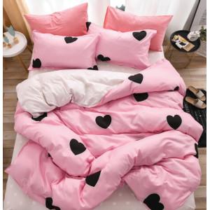 Ružové posteľné obliečky s motívom sŕdc