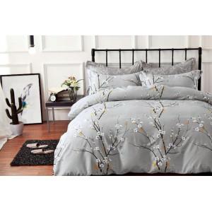 Sivé posteľné obliečky s kvitnúcich kvetov