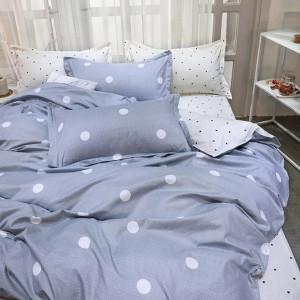 Šedé posteľné obliečky s bodkami