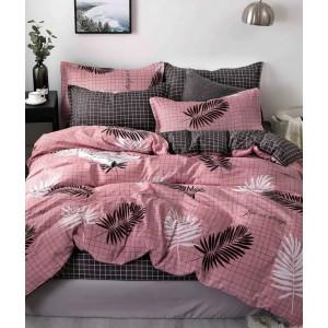 Ružové postené obliečky s motívom hnedých pierok