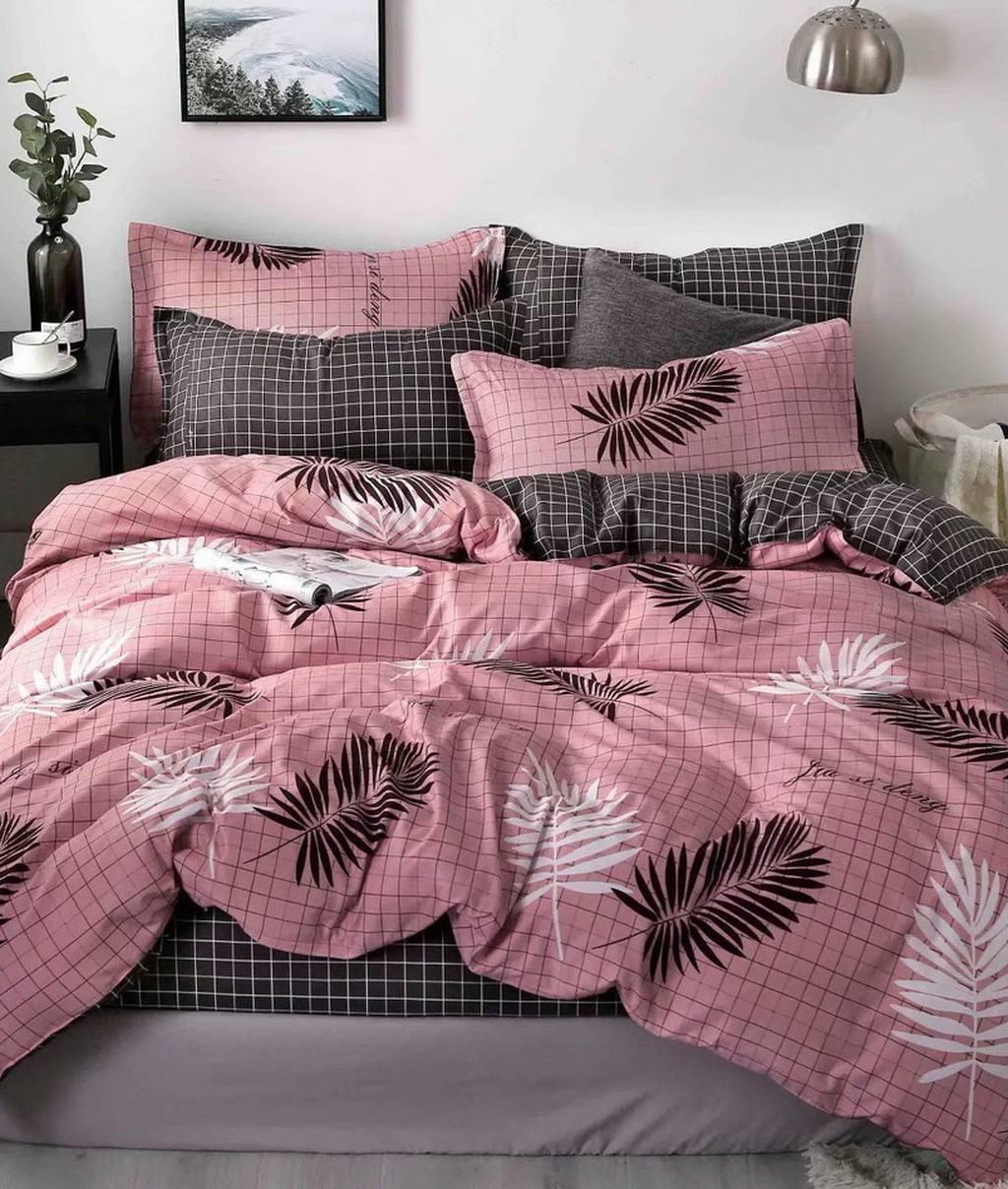 DomTextilu Ružové postené obliečky s motívom hnedých pierok 38161-180311