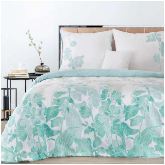Biele posteľné obliečky s moderným tyrkysovým motívom